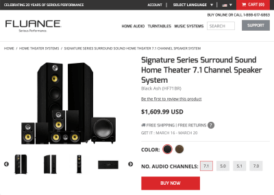 Screenshot of the Fluance website, showing their Signature Series Surround Sound Home Theater 7.1 Channel Speaker System priced at $1,609.99 USD