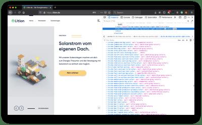 Page principale du site Web de Lition avec les outils de développement de navigateur ouverts