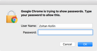 Before getting access to your own stored passwords in Chrome, you need to authenticate with your computer password.