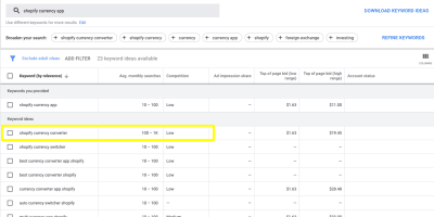 Recherchez «application de devises shopify» dans Google Keyword Planner, avec «convertisseur de devises shopify» mis en surbrillance