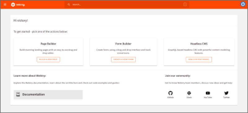Page d'accueil de l'application Admin affichant d'autres applications Webiny.