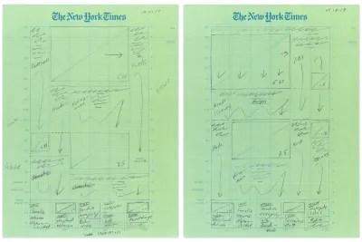 Croquis au crayon d'un New York Times Première page étendue