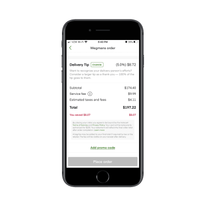 Instacart checkout tab with summary of charges