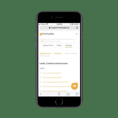 Freshsales support portal breadcrumbs