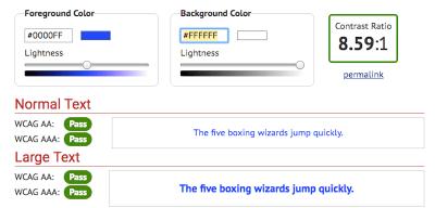 WebAIM color contrast checker