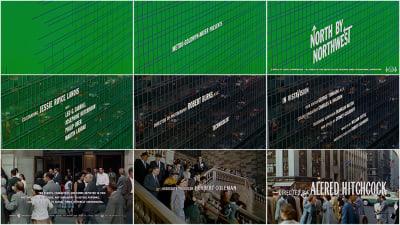 Collection d'images fixes de la séquence de titre d'ouverture «North by Northwest»