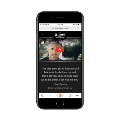 Ryan Reynolds video on Aviation Gin mobile site