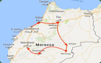 Jewish Tour of Morocco Map