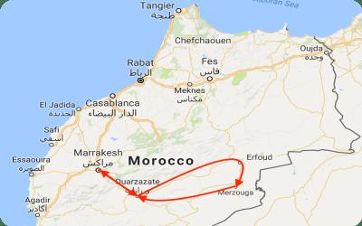 Marrakech and Sahara Desert Tour Map