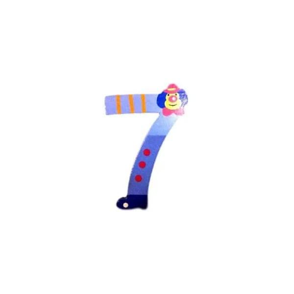Chiffre 7 en bois foncée grand clown 7cm