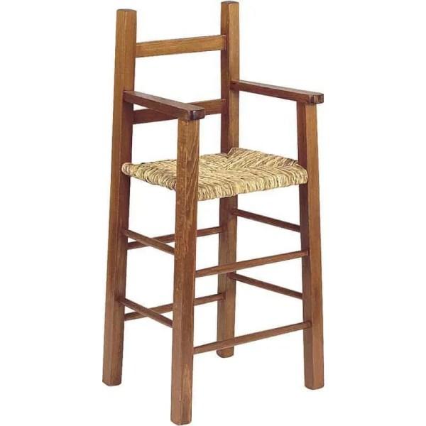 Chaise haute en bois naturel, assise en paille naturelle