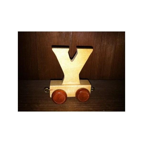 Lettre Y du train, en bois