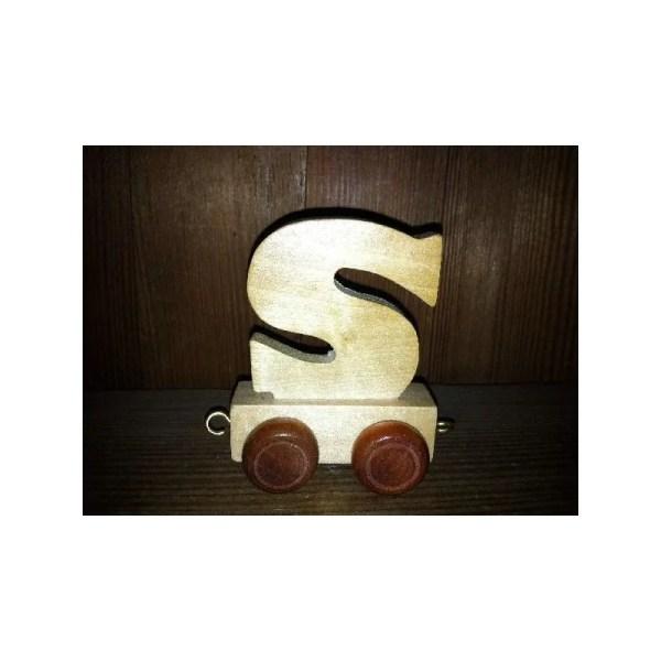 Lettre S du train, en bois