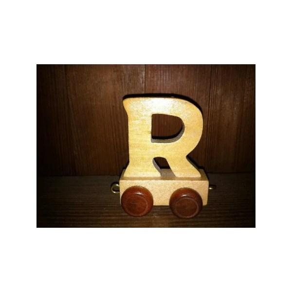 Lettre R du train, en bois
