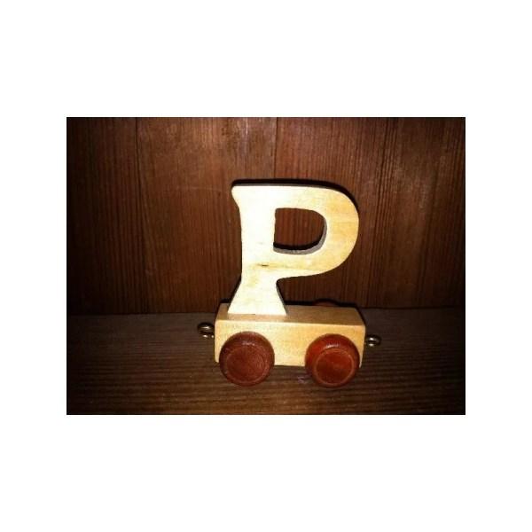 Lettre P du train, en bois