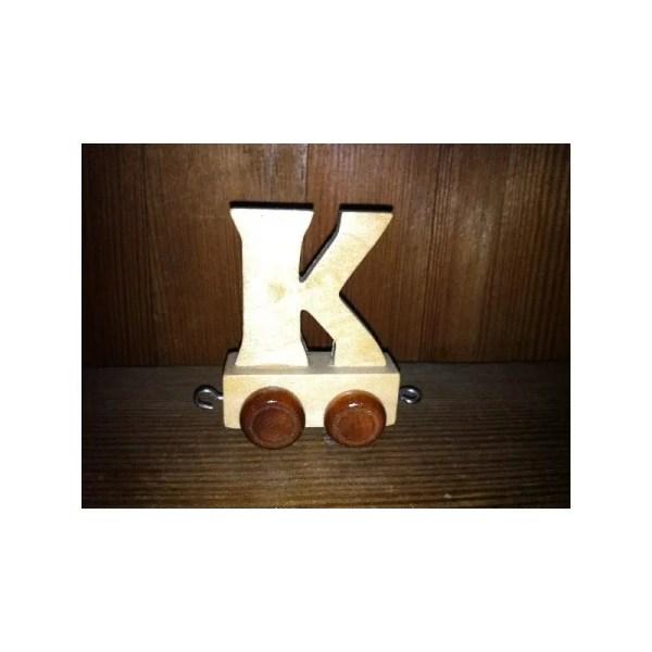 Lettre K du train, en bois