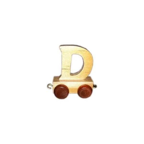 Lettre D du train, en bois