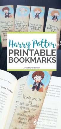 marcadores de página do Harry Potter para imprimir grátis