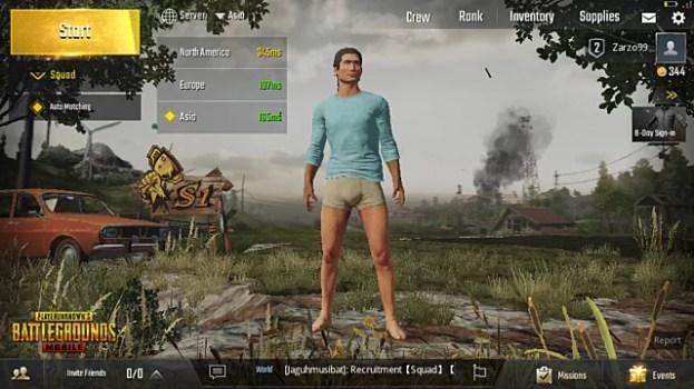 menu screen in PUBG mobile