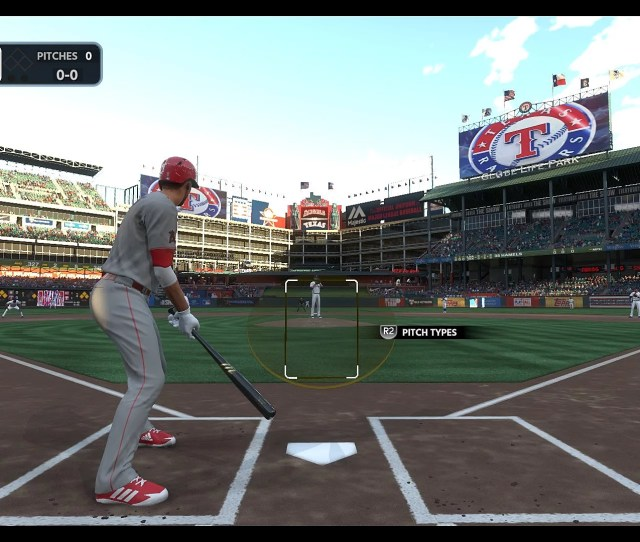 A Player For The Angels Stands At Bat Against A Rangers Pitcher In Mlb The Show