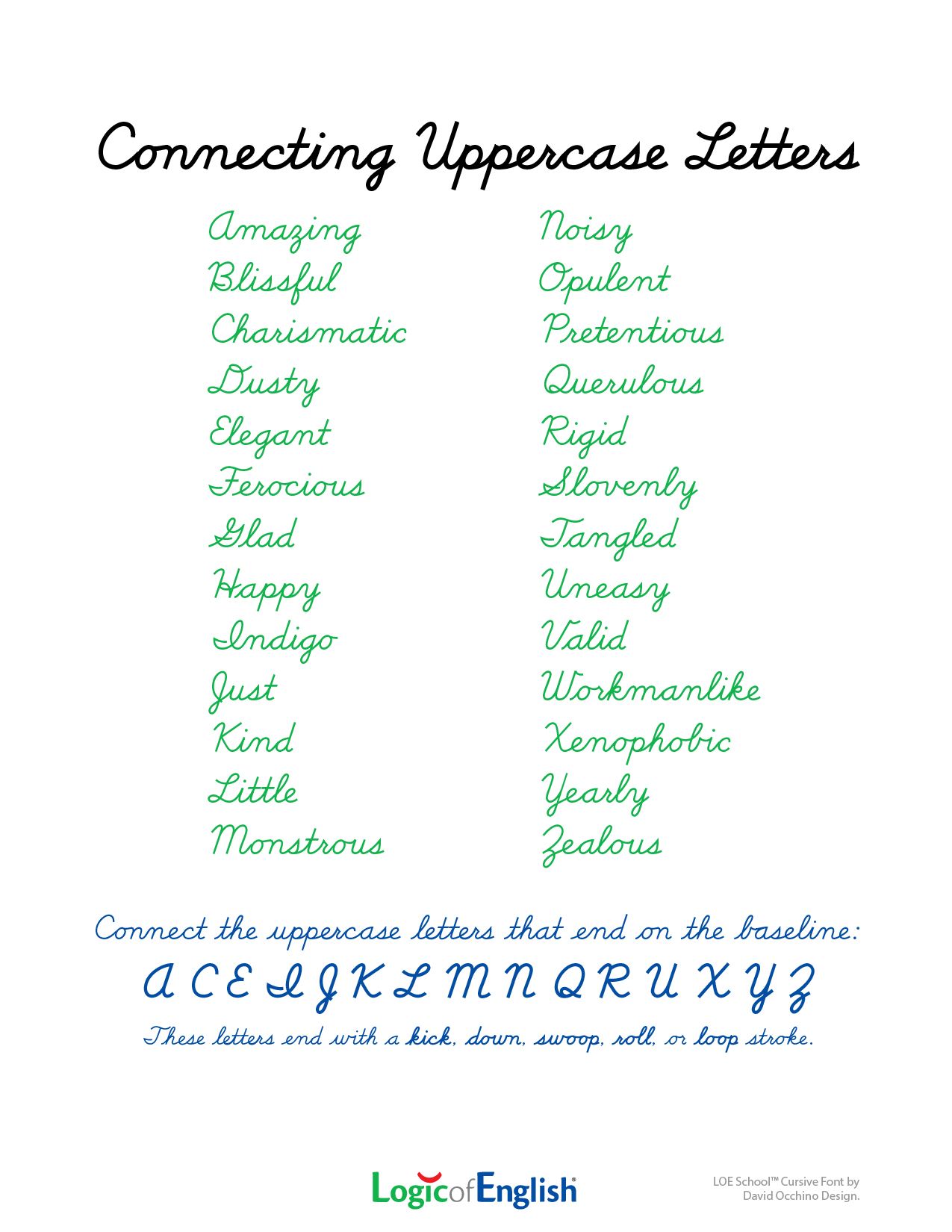 Connecting Uppercase Cursive Letters