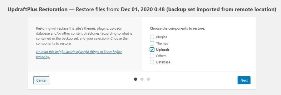 Cara Mengembalikan Backup dari Plugin UpDraftPlus
