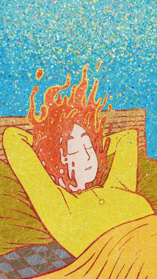 ilustración de una mujer descansando en su cama