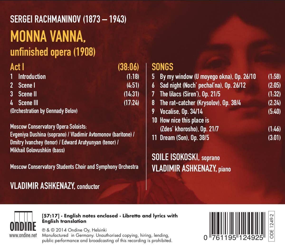 Photo No.2 of Rachmaninov: Monna Vanna (Act 1) & Songs