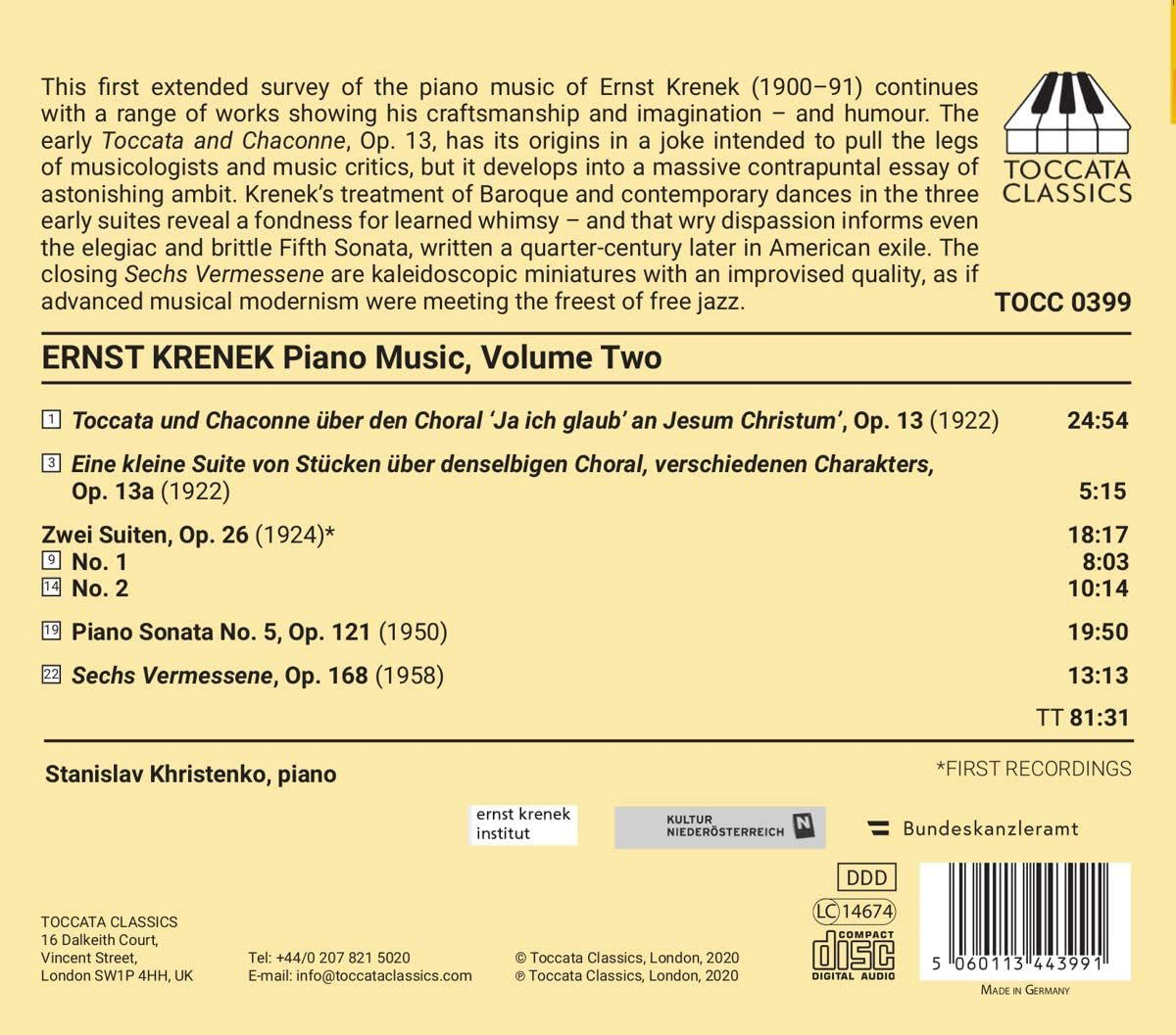 Photo No.2 of Ernst Krenek: Piano Music, Volume Two