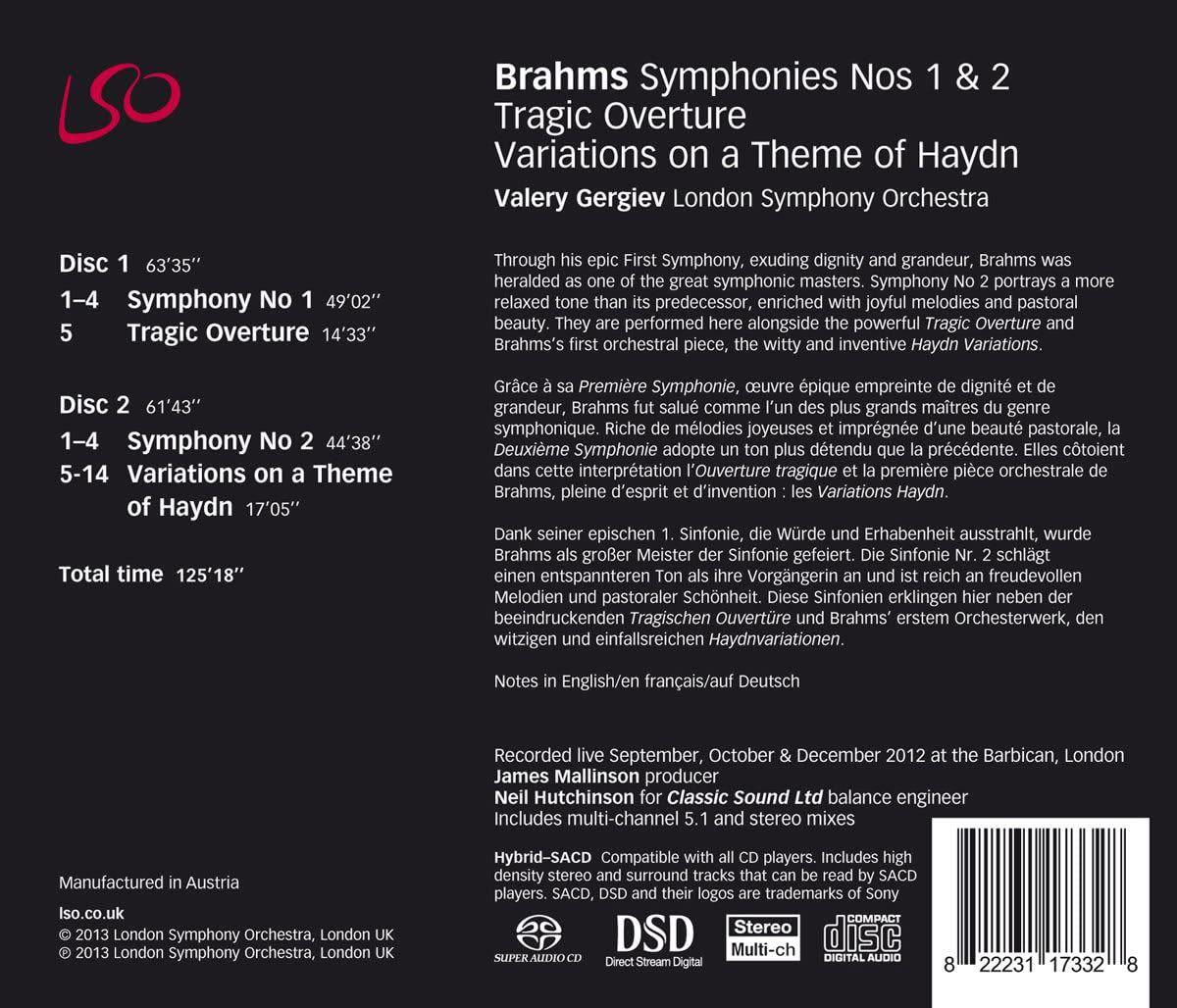 Photo No.2 of Brahms: Symphonies Nos. 1 & 2 & Tragic Overture