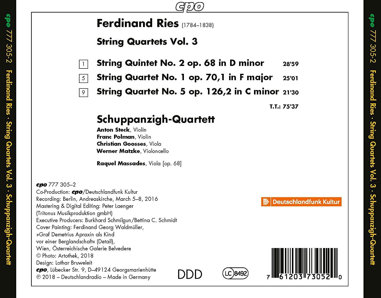 Photo No.2 of Ries: String Quartets, Vol. 3