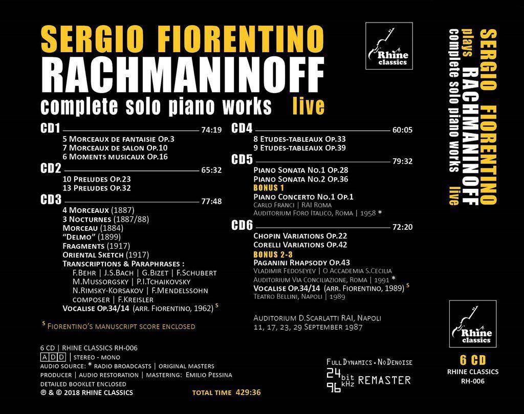 Photo No.2 of Sergio Fiorentino: Rachmaninov Solo Piano Works Complete