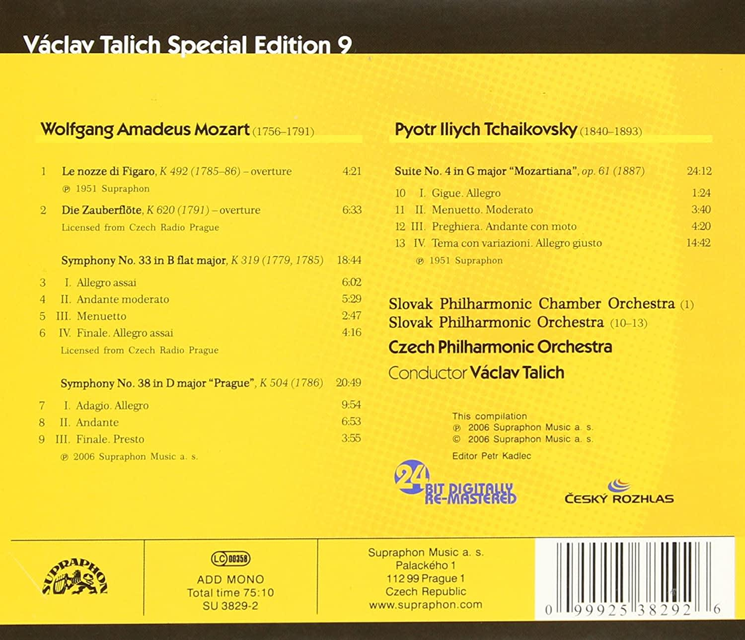 Photo No.2 of Talich Special Edition 9 - Mozart: Overtures, Symphonies Nos 33 & 38 & Tchaikovsky: Suite No. 4