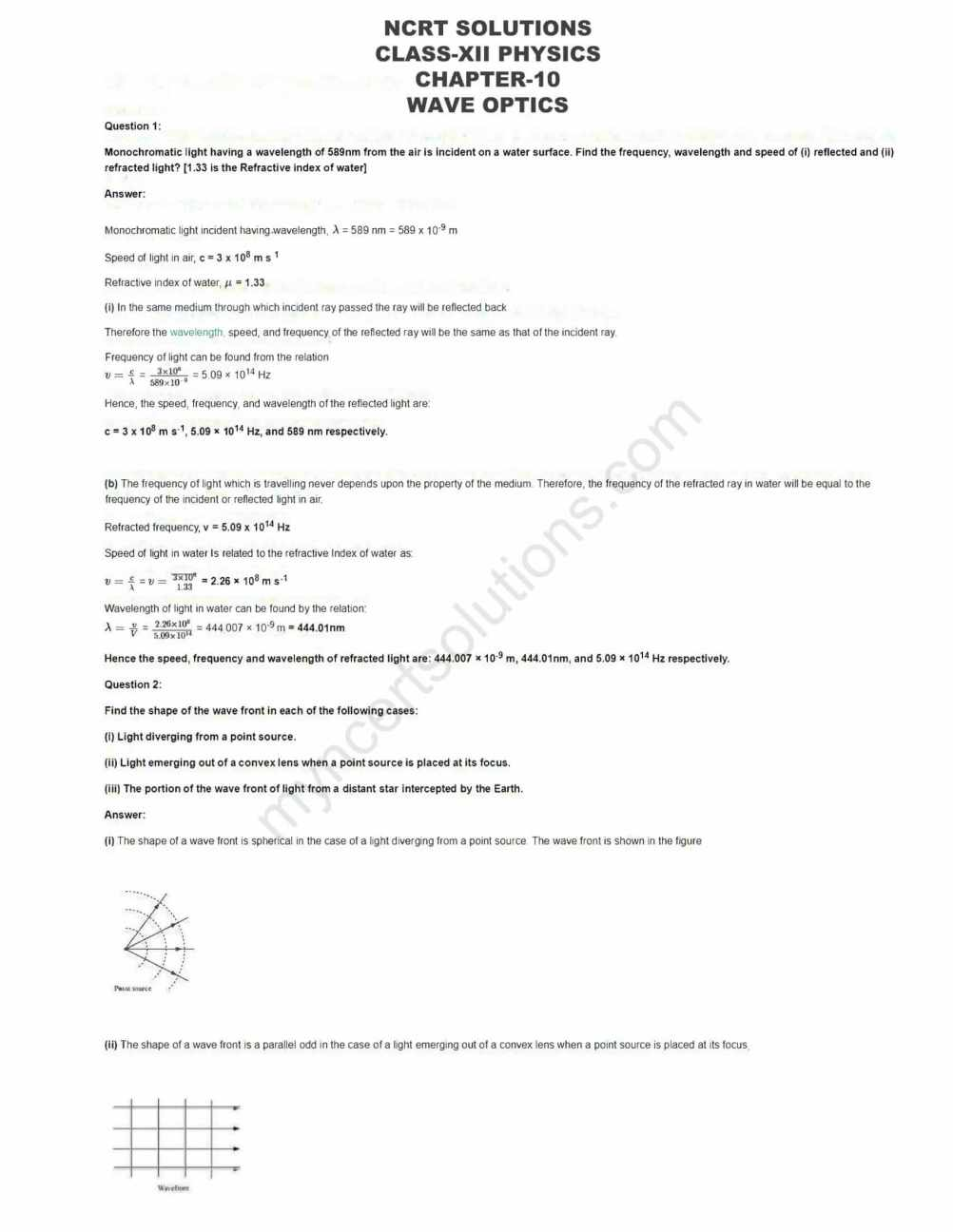 NCERT Solutions For Class 12 Physics Chapter 10 - Free PDFs
