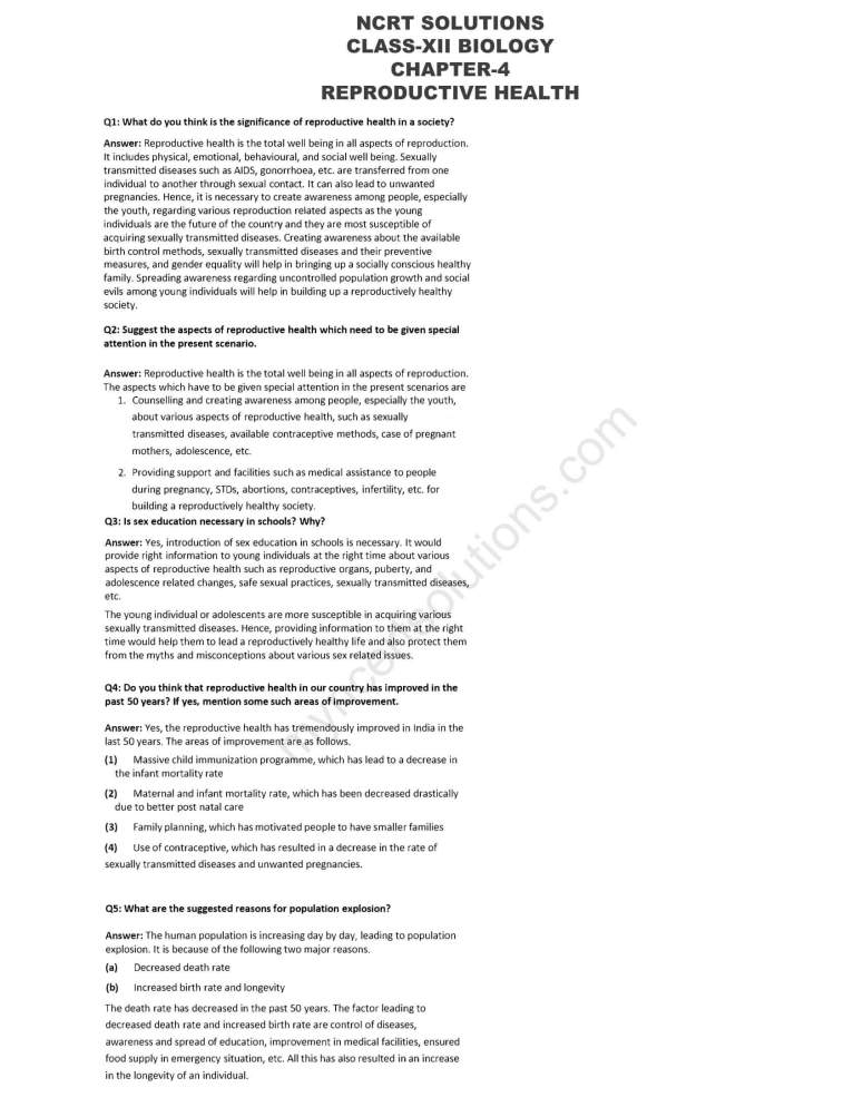 NCERT Solutions For Class 12 Biology Chapter 4 - Free PDFs