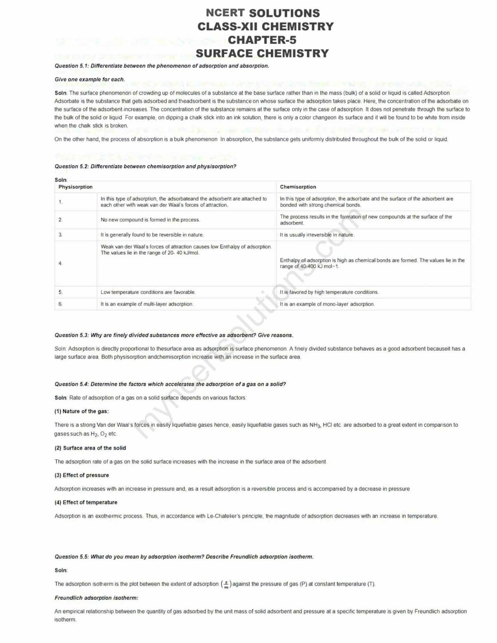 NCERT Solutions For Class 12 Chemistry Chapter 5 - Free PDFs