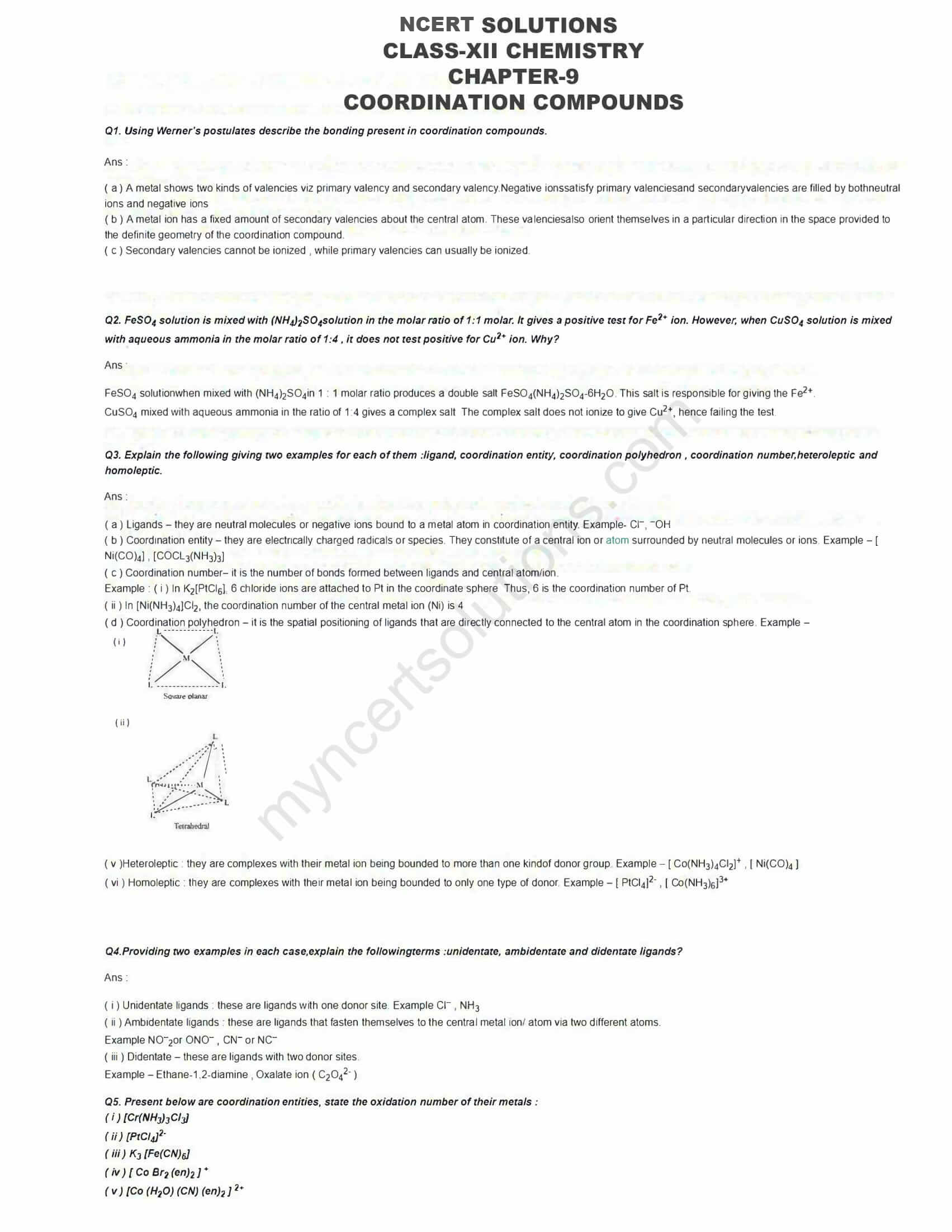 Coordination Compounds Ncert Solutions Pdf