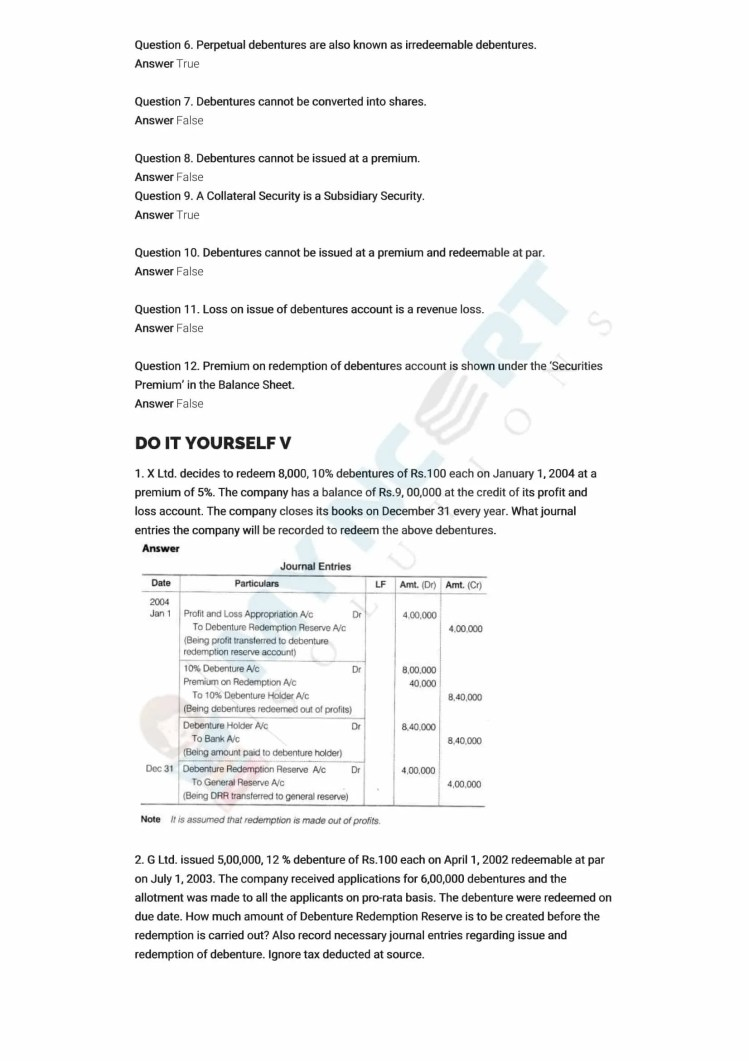 ncert solutions class 12 accountancy part 2 chapter 2 issue and redemption of debentures 10