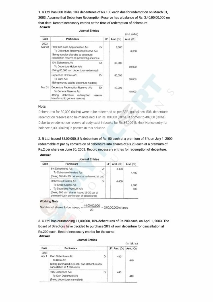 ncert solutions class 12 accountancy part 2 chapter 2 issue and redemption of debentures 14