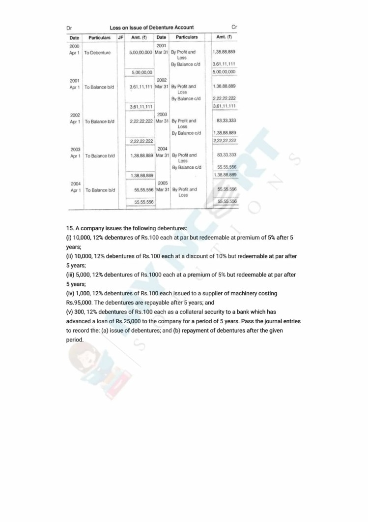 ncert solutions class 12 accountancy part 2 chapter 2 issue and redemption of debentures 38