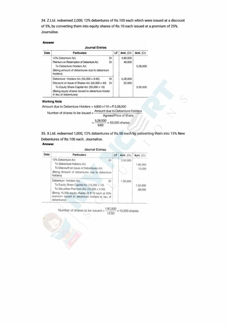 ncert solutions class 12 accountancy part 2 chapter 2 issue and redemption of debentures 58