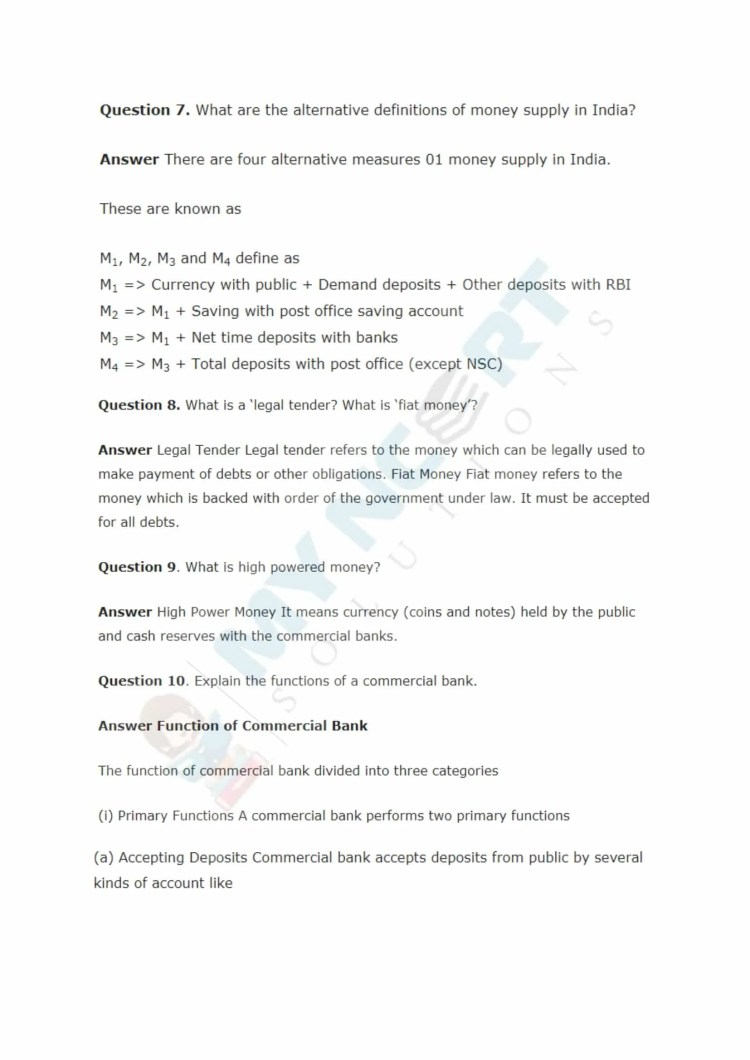 ncert solutions class 12 macro economics chapter 3 money and banking 4