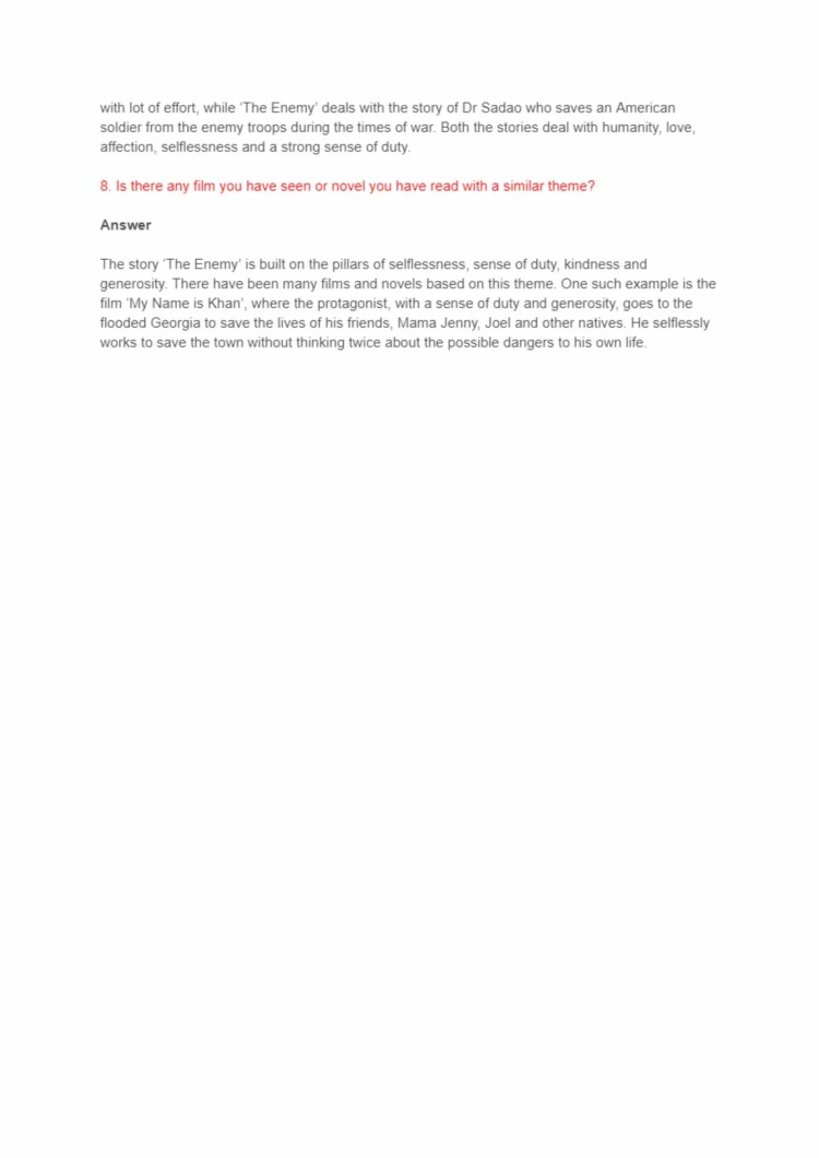 NCERT Solutions For Class 12 Vistas English The Enemy