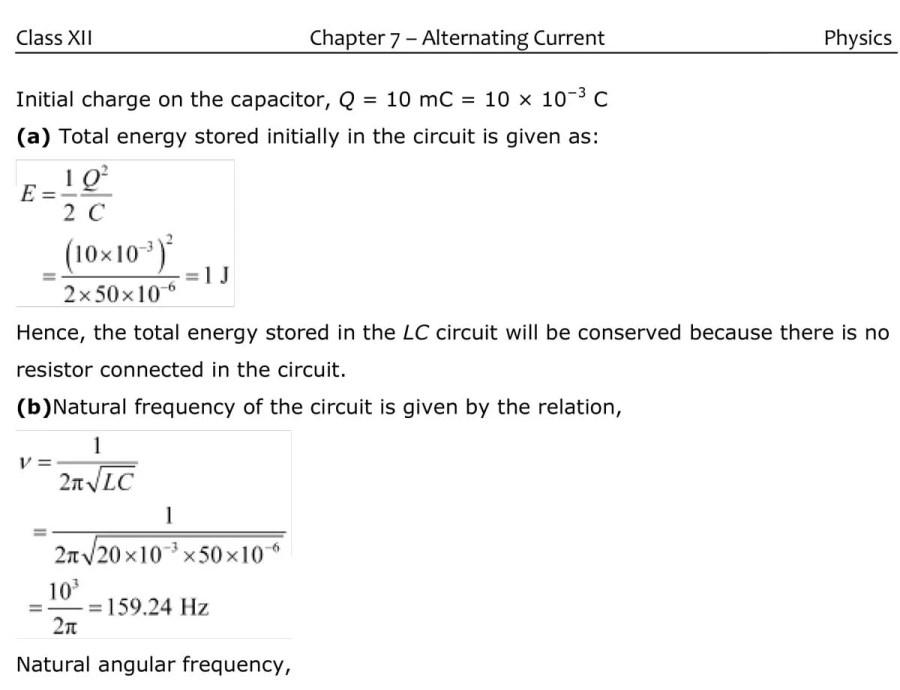 Class 12  Physics Alternating Current