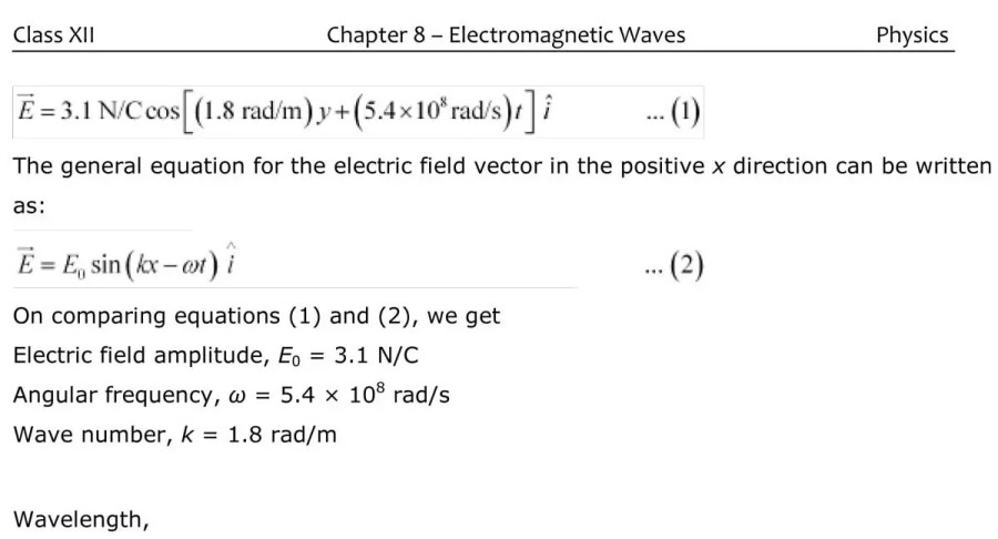 Class 12  Physics Electromagnetic Waves