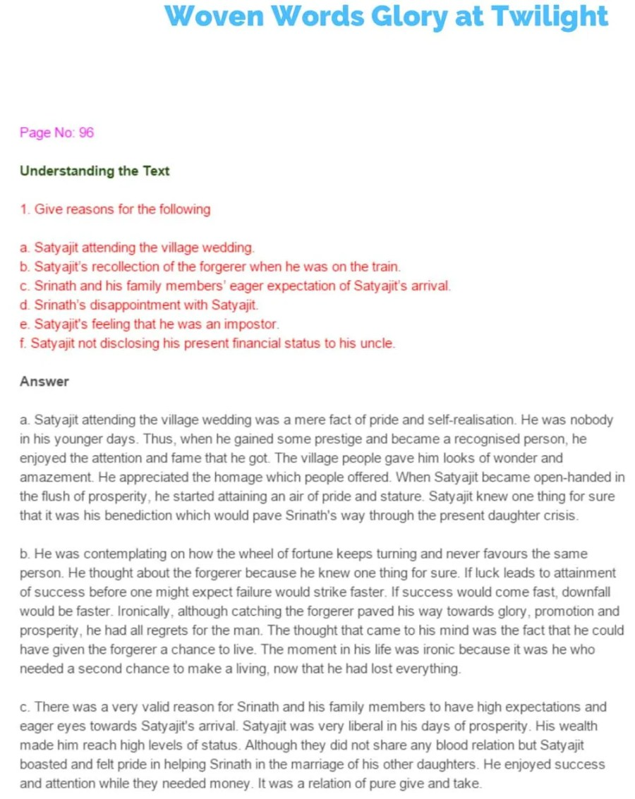 ncert solutions for class 11 english chapter 7 woven words glory at twilight 1