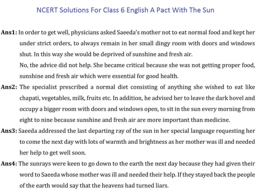 ncert solutions class 6 english a pact with the sun chapter 8