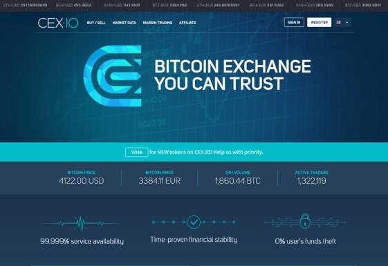 Sitio web Cex.io