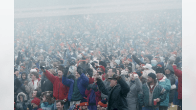 The crowd pulls for their team during the NFC Divisional Playoff, a 20-12 Chicago Bears victory over the Philadelphia Eagles on December 31, 1988, at Soldier Field in Chicago, Illinois. (National Football League)