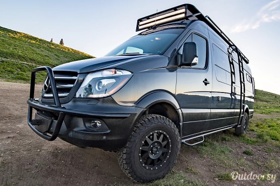 Exterior Mercedes 4x4 Sprinter custom outfitted by Camper ReParadise in West Valley City, UT